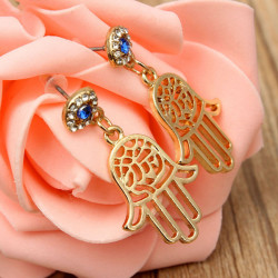 Rhinestone Crystal Blue Eye Hamsa Hand Earrings Gold Plated