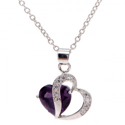 Rhinestone Crystal Double Heart Pendant Necklace For Women