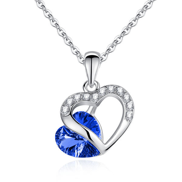 Rhinestone Crystal Heart Shaped Pendant Necklace For Women Women Jewelry