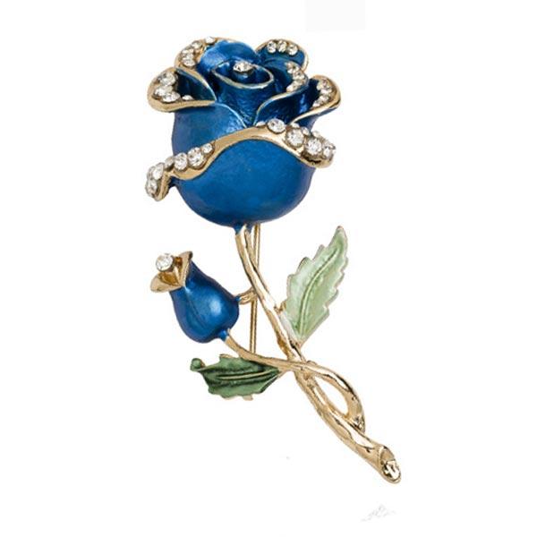 Rhinestone Crystal Rose Flower Wedding Bridal Pin Brooch Women Jewelry