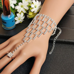 Rhinestone Crystal Slave Harness Bracelet Wristband Wedding Jewelry