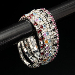 Rhinestone Crystal Wedding Bridal Stretch Bracelet Bangle for Women