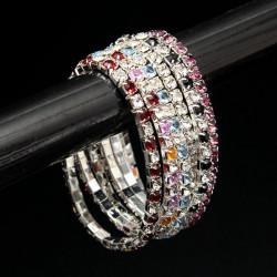 Rhinestone Crystal Wedding Bridal Stretch Bracelet Bangle for Women