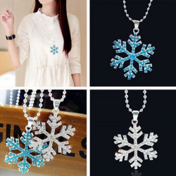 Rhinestone Frozen Snowflake Long Silver Chain Pendant Necklace