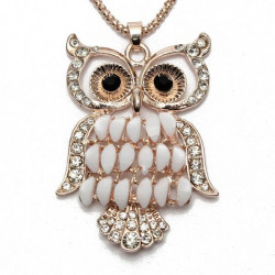 Rhinestone Gem Owl Sweater Chain Pendant Necklace For Women