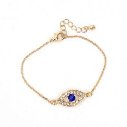 Rhinestone Hamsa Fatima Hand Blue Evil Eye Charm Bracelet Unisex