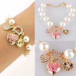 Rhinestone Heart Flower Letter D Pendant Pearl Alloy Chain Bracelet