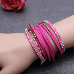 Rhinestone Leather Braid Wrist Magnetic Multilayer Pipe Bracelet