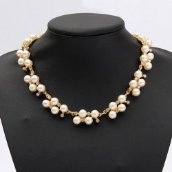 Rhinestone Pearl Collar Choker Statement Necklace For Women