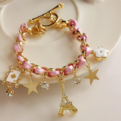 Rhinestone Poker Star Eiffel Tower Leather Rope Bracelet Gold Plated