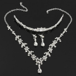 Rhinestone Water Drop Crown Necklace Earrings Bridal Jewelry Sets