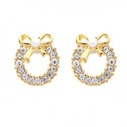 Rhinestone Wreath Bowknot Pearl Stud Earrings Gold Plated Earrings