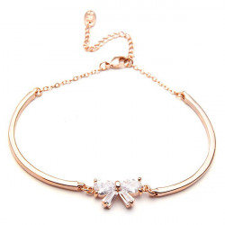 Rose Gold Plated Bowknot Zircon Crystal Bracelet Women Jewelry