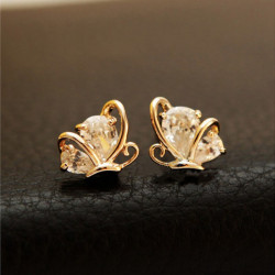 Rose Gold Plated Butterfly Zircon Crystal Stud Earrings Ear Clip