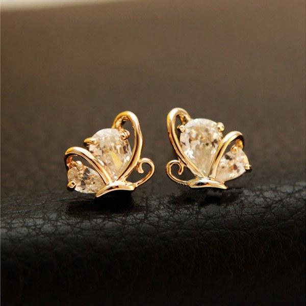 Rose Gold Plated Butterfly Zircon Crystal Stud Earrings Ear Clip Women Jewelry