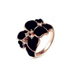 Rose Gold Plated Crystal Black White Enamel Flower Ring For Women
