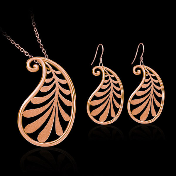 Rose Gold Plated Leaf Pendant  Necklace Earrings Jewelry Set Women Jewelry