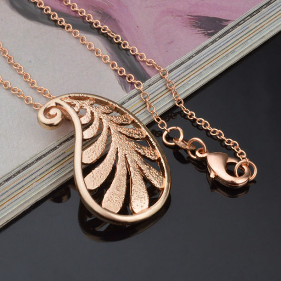 Rose Gold Plated Leaf Pendant  Necklace Earrings Jewelry Set 2021