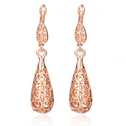 Rose Gold Plated Water Drop Hollow Out Earrings Women Jewelry