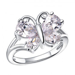 Rose Gold Platinum Plated Zircon Crystal Butterfly Finger Ring For Women