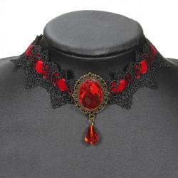 Sexy Punk Ladies Black Lace Gemstone Gothic Choker Jewelry Necklace