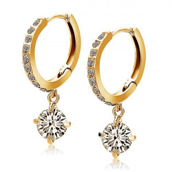Shining Zircon Crystal Rhinestone Drop Earrings Gold Silver Plated