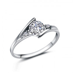 Silver Austria Crystal Finger Ring For Women Wedding Jewelry