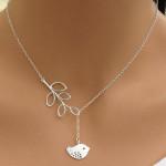 Silver Branch Tree Leaves Bird Pendant Necklace For Women Women Jewelry