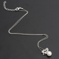 Silver Butterfly Rhinestone Pearl Pendant Chain Necklace For Women