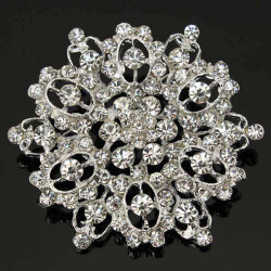 Silver Crystal Rhinestone Hollow Flower Wedding Brooch Pin