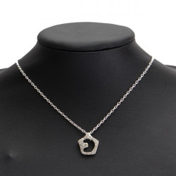 Silver Full Rhinestone Hollow Star Moon Pendant Necklace For Women