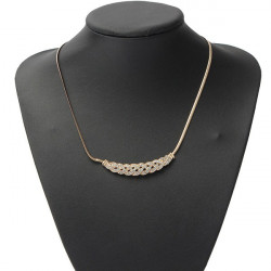 Silver Gold Plated Rhinestone Twisty Snake Chain Pendant Necklace