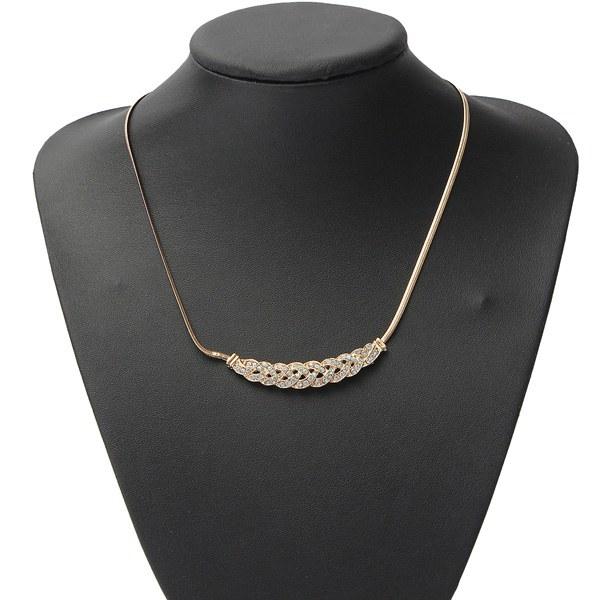 Silver Gold Plated Rhinestone Twisty Snake Chain Pendant Necklace Women Jewelry
