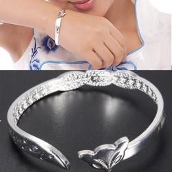 Silver LOVE YOU Opening Fox Cuff Bangle Bracelet Women Jewelry