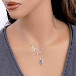 Silver Leaf Owl Pendant Chain Necklace Women Jewelry