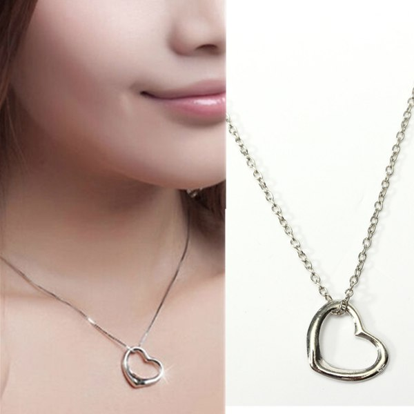 Silver Love Peach Heart Pendant Necklace For Women Women Jewelry