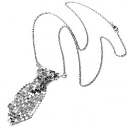 Silver Necktie Tie Shaped Sweater Chain Pendant Necklace For Women