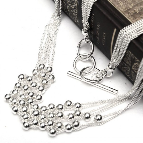 Silver Plated Beads Multilayer Link Chain Pendant Necklace 2021