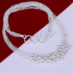 Silver Plated Beads Multilayer Link Chain Pendant Necklace