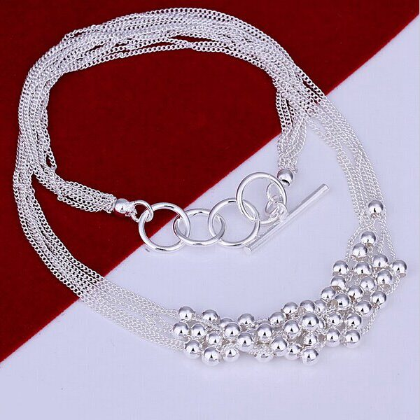 Silver Plated Beads Multilayer Link Chain Pendant Necklace Women Jewelry
