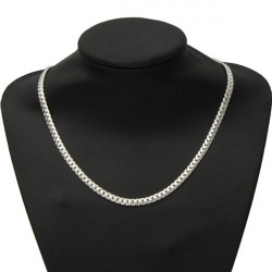 Silver Plated Bib Thick Snake Link Chain Necklace Men Women