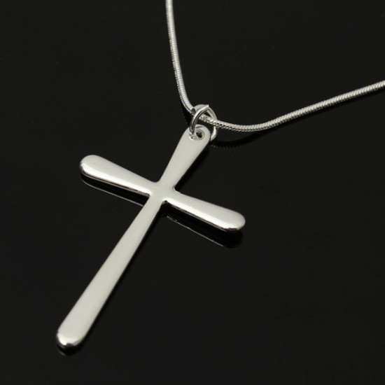 Silver Plated Cross Pendant Snake Chain Necklace Men Women