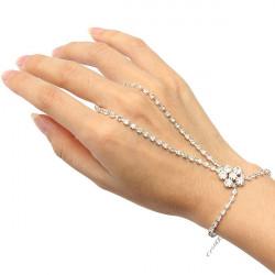 Silver Plated Crystal Flower Ring Bracelet Rhinestone Metal Chain