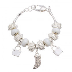 Silver Plated Crystal Glass Beads Charm Bracelet For Women