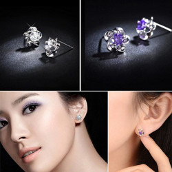 Silver Plated Crystal Rhinestone Flower Shape Ear Stud Earrings