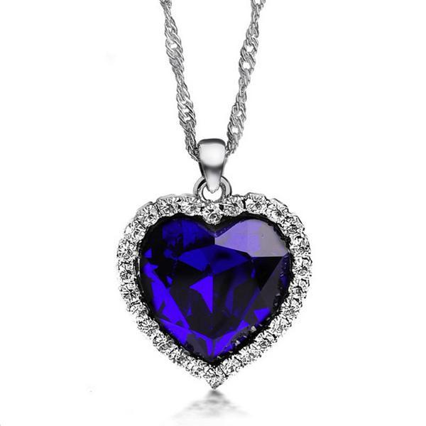 Silver Plated Crystal Rhinestone Ocean Heart Pendant Necklace Fine Jewelry