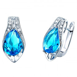 Silver Plated Crystal Rhinestone Oval Shape Stud Earrings For Women