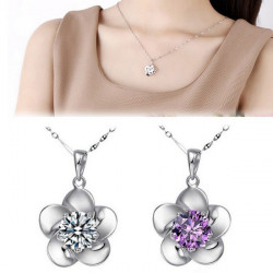 Silver Plated Crystal White Purple Flower Pendant Necklace