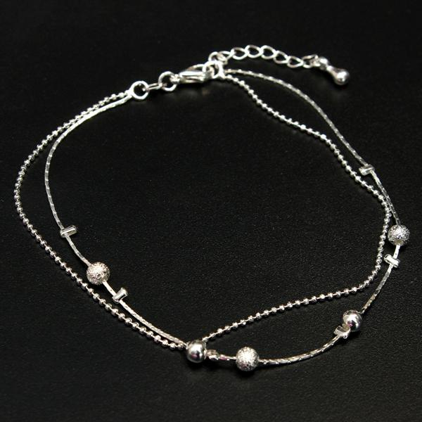 Silver Plated Double Layer Beads Charms Anklet Foot Chain For Women Women Jewelry