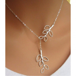 Silver Plated Double Leaves Clavicle Necklace Metal Chain Necklace